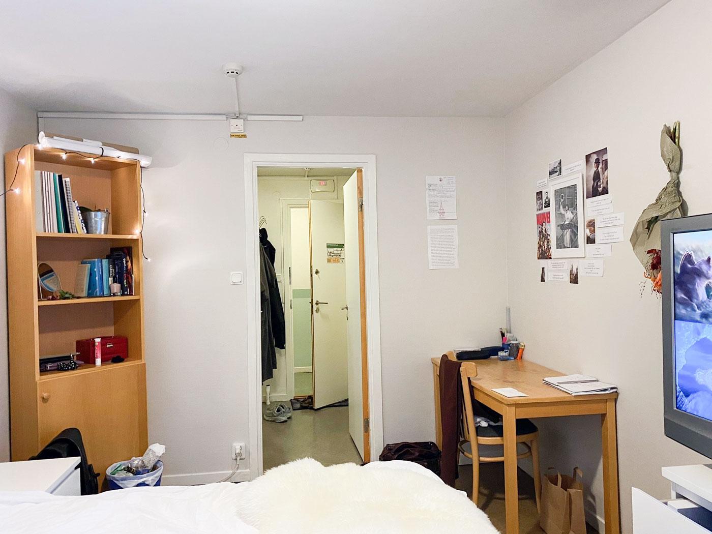 Internatrum skrivbord, dörr, bokhylla